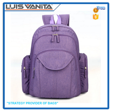 Multifunctional Purple Snow Fabric Baby Diaper Bag Backpack