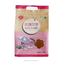 Gravure Printing Recycled Square Bottom Ziplock Brown Kraft Paper Rose Flower Tea Bag with Window and Patch Handle