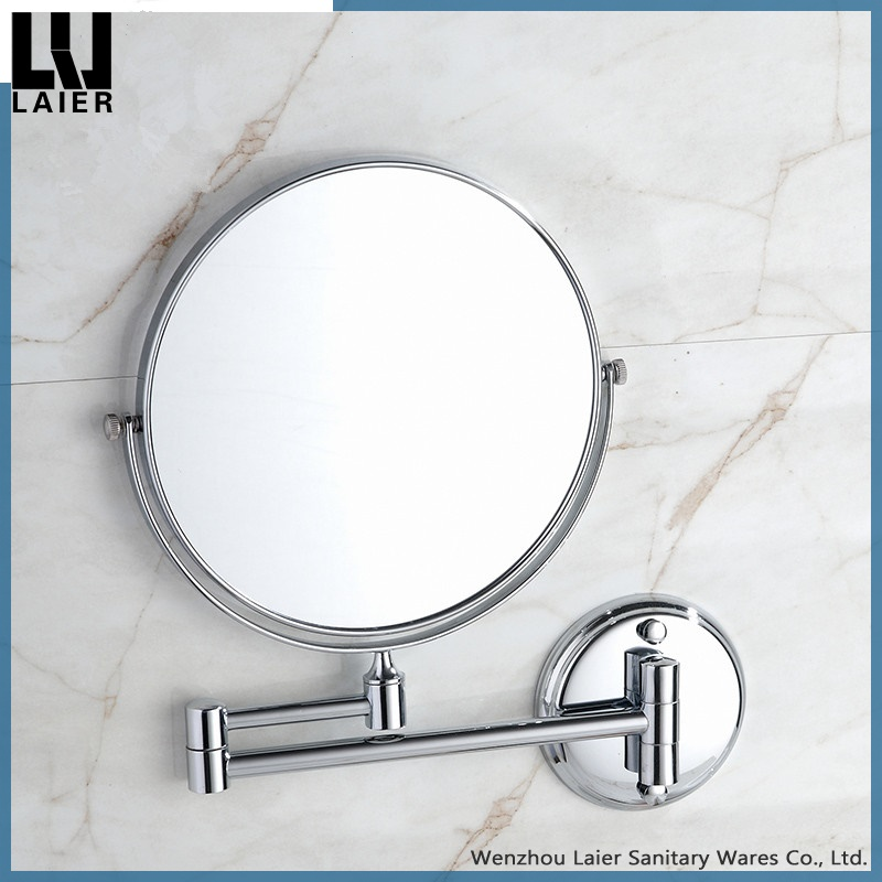 Round 8 Inches Metal Bathroom Folding Wall Mirror Double Sided Fodable Makeup Mirror