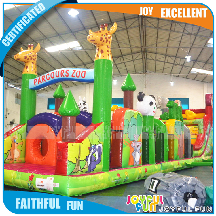2017 new long obstacle course city Inflatable giant zoo theme kids funny park land cheap price
