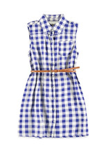 Sunwing Lemokiz Red & Blue Shirring Waist Gingham Plaid Shirt Dresses For Girls