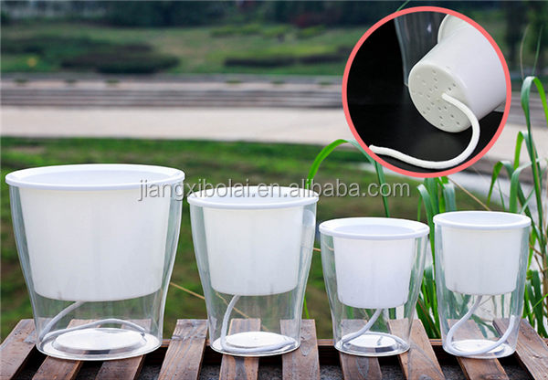 clear Plastic self watering flower pot for wholesale