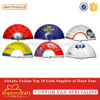 Cheap Promotion Gifts Plastic Fabric Fans with Logo Printed