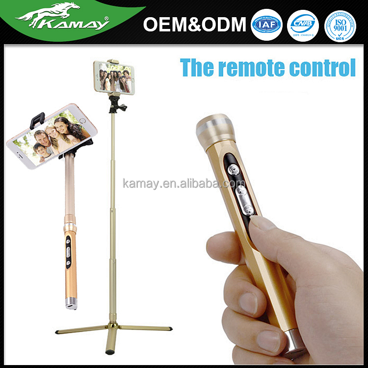 4 Sections extensible stick with bluetooth remote control flexible camera mount