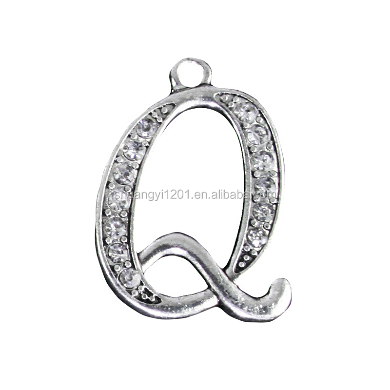 Fashion Greek Aphabet Charms Crystal Letter <strong>Q</strong> Pendants Bracelet Making