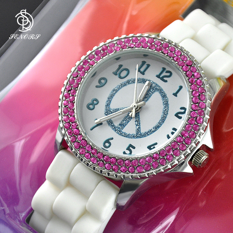 Diamond cute cheap silicon custom wrist watches for girl gift