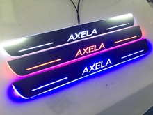 Car LED Welcome pedal Logo Flash led moving door scuff sill plate for Mazda Axela