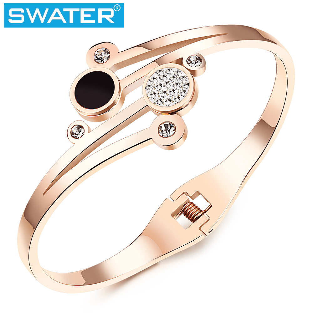 China Suppliers Women Jewelry AA Zircon Rose Gold Beauty Fancy Bangle