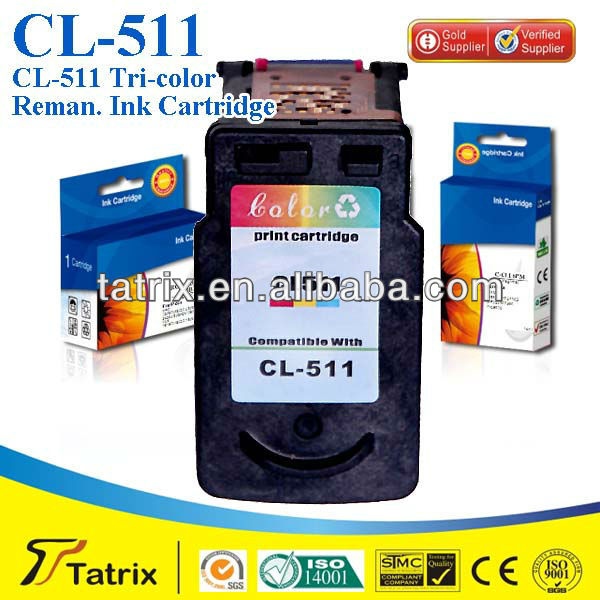 CL-511 For Canon Tri-Color Ink Cartridge CL511 Reman Ink Cartridge With CE SGS ISO Certificates