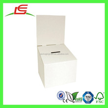 E0039 China Supplier White Cardboard Ballot Box With Detachable Header, Raffle Box and Suggestion Box