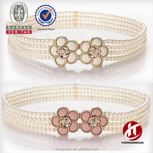 2016 women's beaded pearl belt with flower buckle for cloth decoration