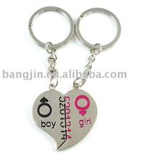 Key zinc alloy, with broken heart to be 2pcs