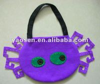 Halloween purple spider candy bag with black handle