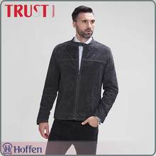 wholesale brand <strong>mens</strong> grey suede leather jacket