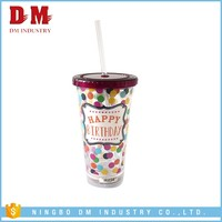 Cheap With Straw Reusable Clear Plastic Cups