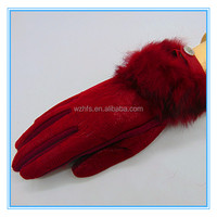 PU And Lace Lined Thick Sexy Gloves Women With Fur