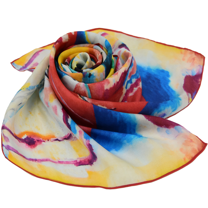 custom printed 100% silk scarves for wholesale