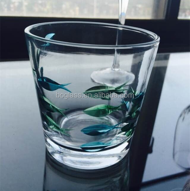 New product custom printing fish design egg shape drinking glass cup 15oz whisky glass turkish dinnerware wholesale