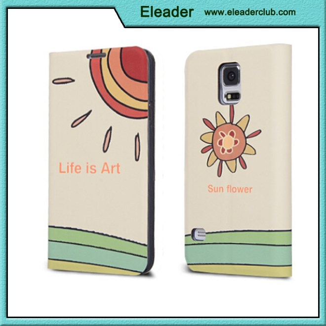 Cartoon leather case for samsung galaxy s5