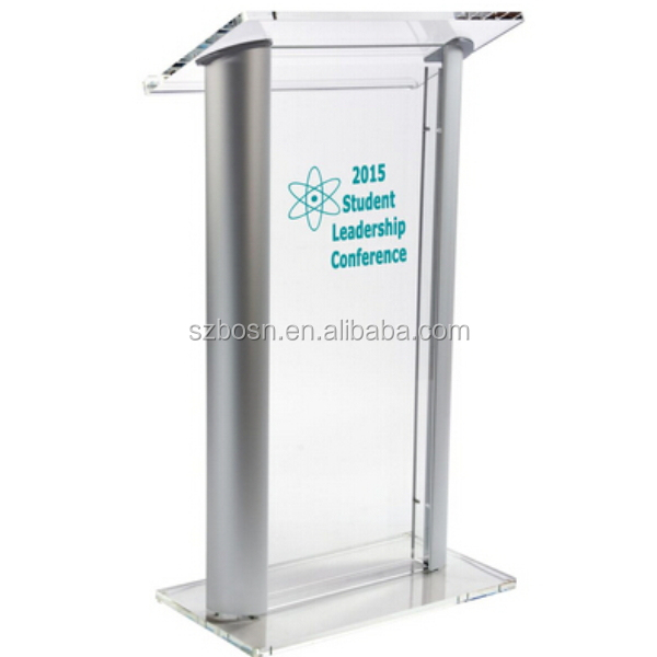Acrylic Podium With Aluminum Sides, Custom Artwork - Clear & Silver