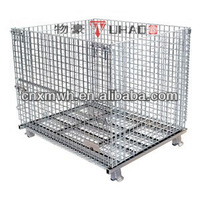 Collapsible wire forklift basket stackable folding