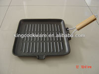 Wooden Handle Foldable Cast Iron Grill Pan