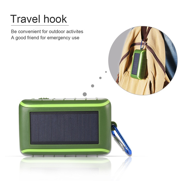 No Radio 6000mAh Solar Power Bank with Led Light Solar Hand Crank Charger