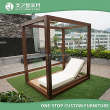 2017 latest design square wooden frame canopy day bed outdoor daybed