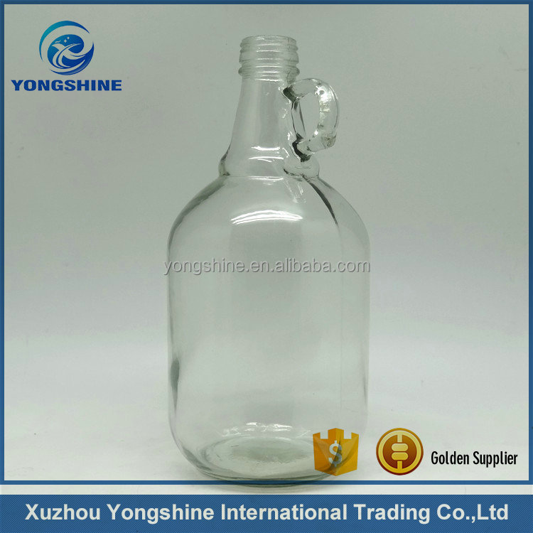 2L 2000ml empty beer glass bottle with handle with screw lid wholesale
