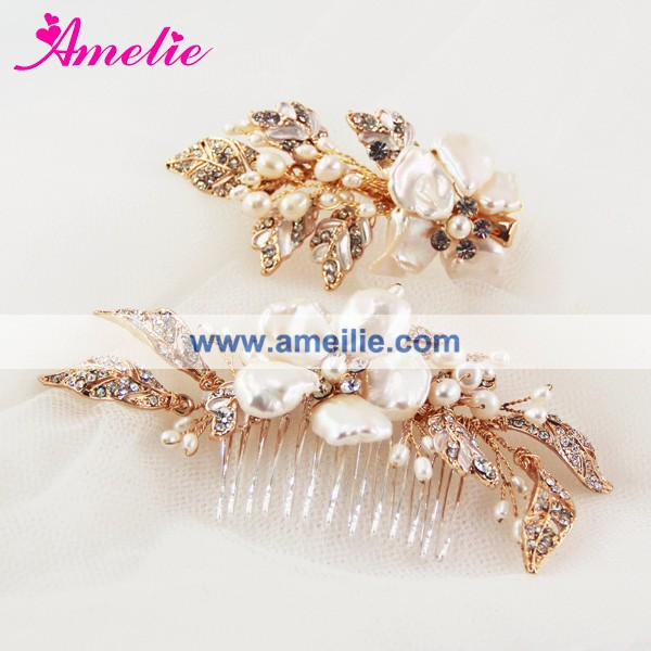 Shell Flower Decorated Wedding Jewllery Fresh Water Pearl Bridal Hair Comb And Clip Set