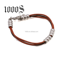 Hot sale men leather stainless steel movable steel beads bracelet for order