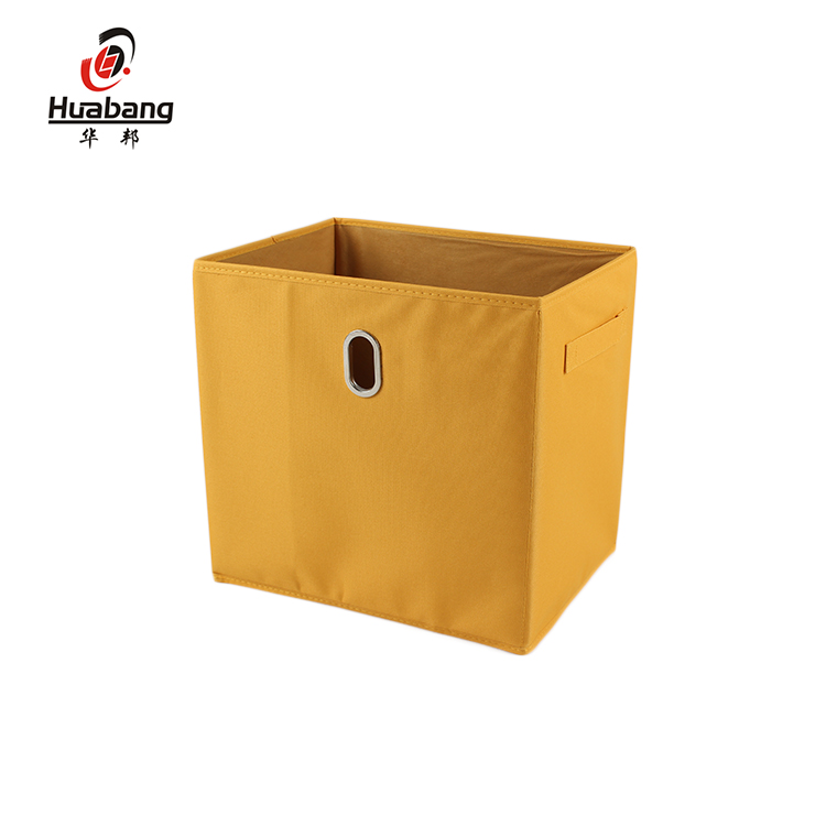 Professional Manufacture Household Collapsible Storage Bin Fabric Storage Boxes With Dual Handles