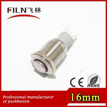 High flat actuator 16mm 12v electric momentary pushbutton switch with led lamp