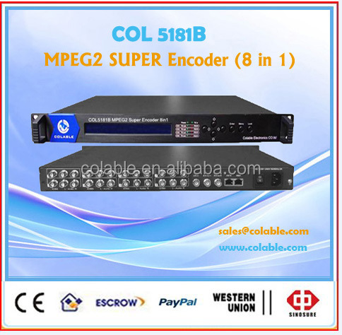 Mpeg2 8channels professional dtv broadcasting equipment analog audio video to IP converter COL5181B