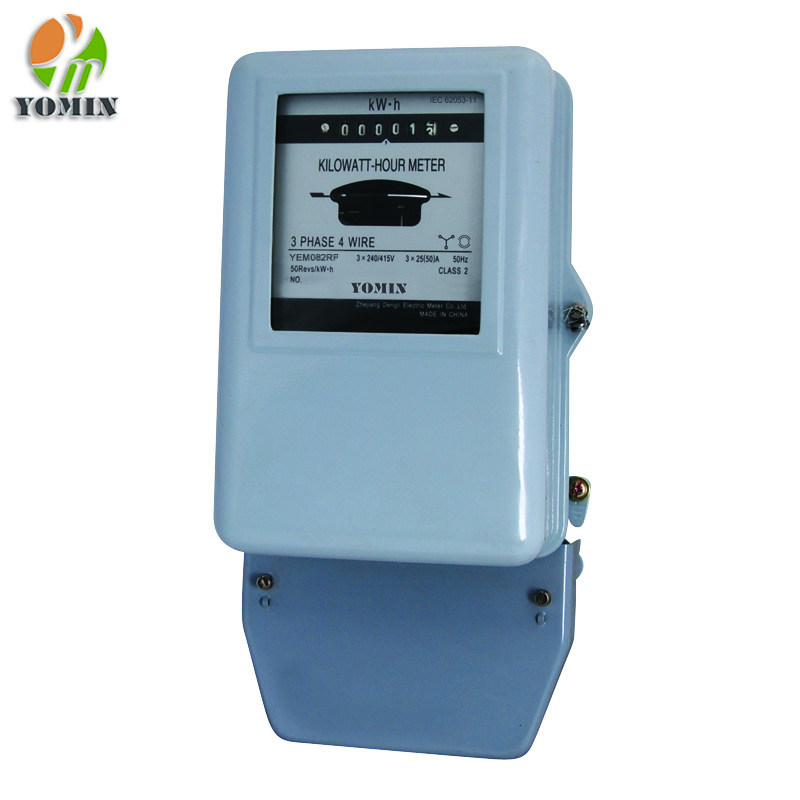 Three phase four wire mechanical ct operated meter kwh electric meter with metal cover