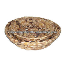 Home desk decoration water hyacinth weave pretty planter fruit tray