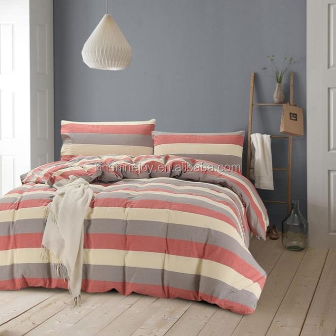 coordinated red and gray stripe yarn dyed 4pcs bedding set 100% washed cotton bed linen