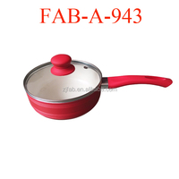 White And Red Color Ceramic Casserole With One Handle