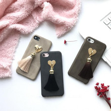 Imitation Leather Heart Tassel Pendent Soft Mobile Phone Case for iPhone 7/7 Plus