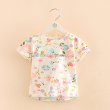F10163B Full printed short sleeve girl's tshirt 2017 summer baby girls floral printed tshirt