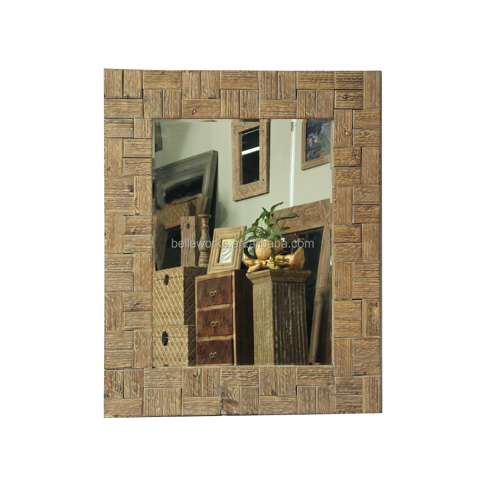 traditional square wood floor mirror with carved frame