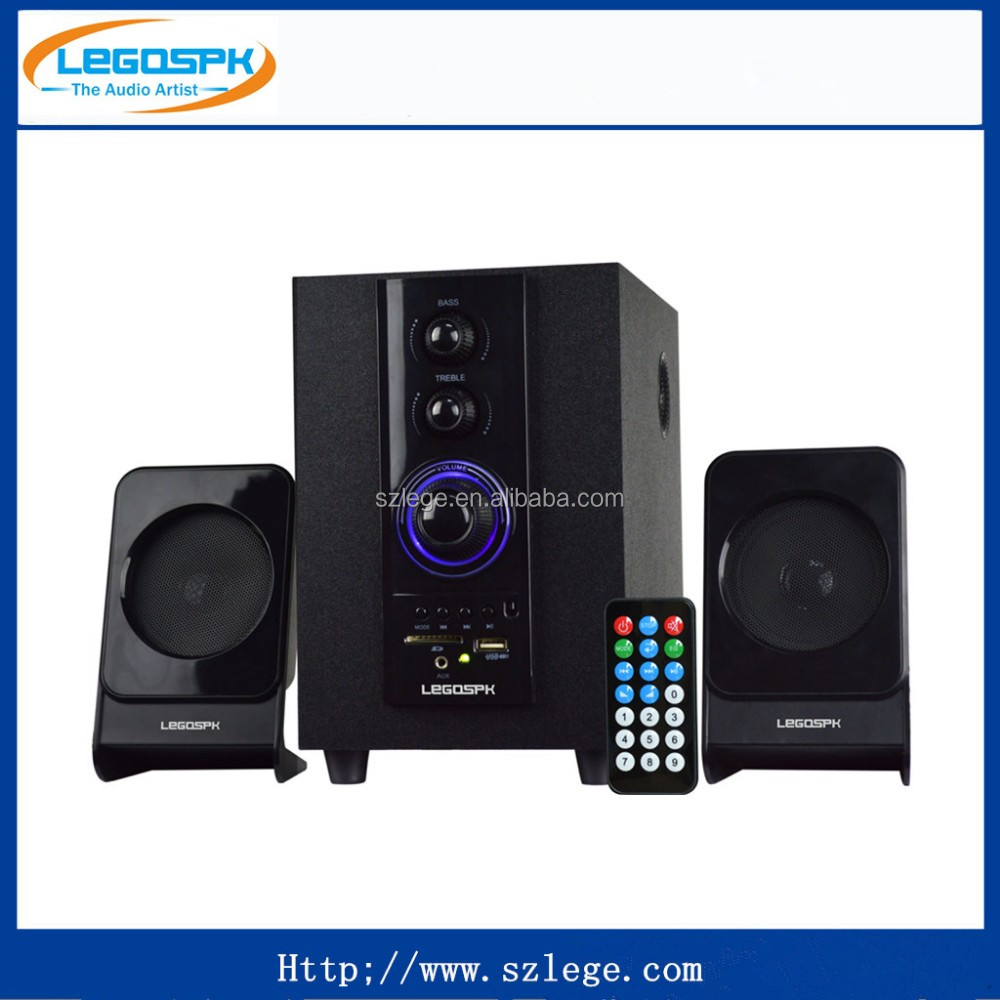 small size l 2.1 ch multimedia speaker with USB SD FM RC bluetooth made in china