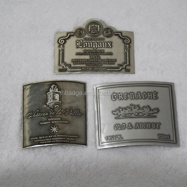 antique copper/gold metal aluminum bottle labels stickers plaques