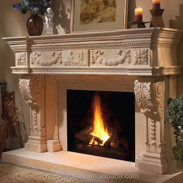 natural stone fireplace mantle for outdoor decoration