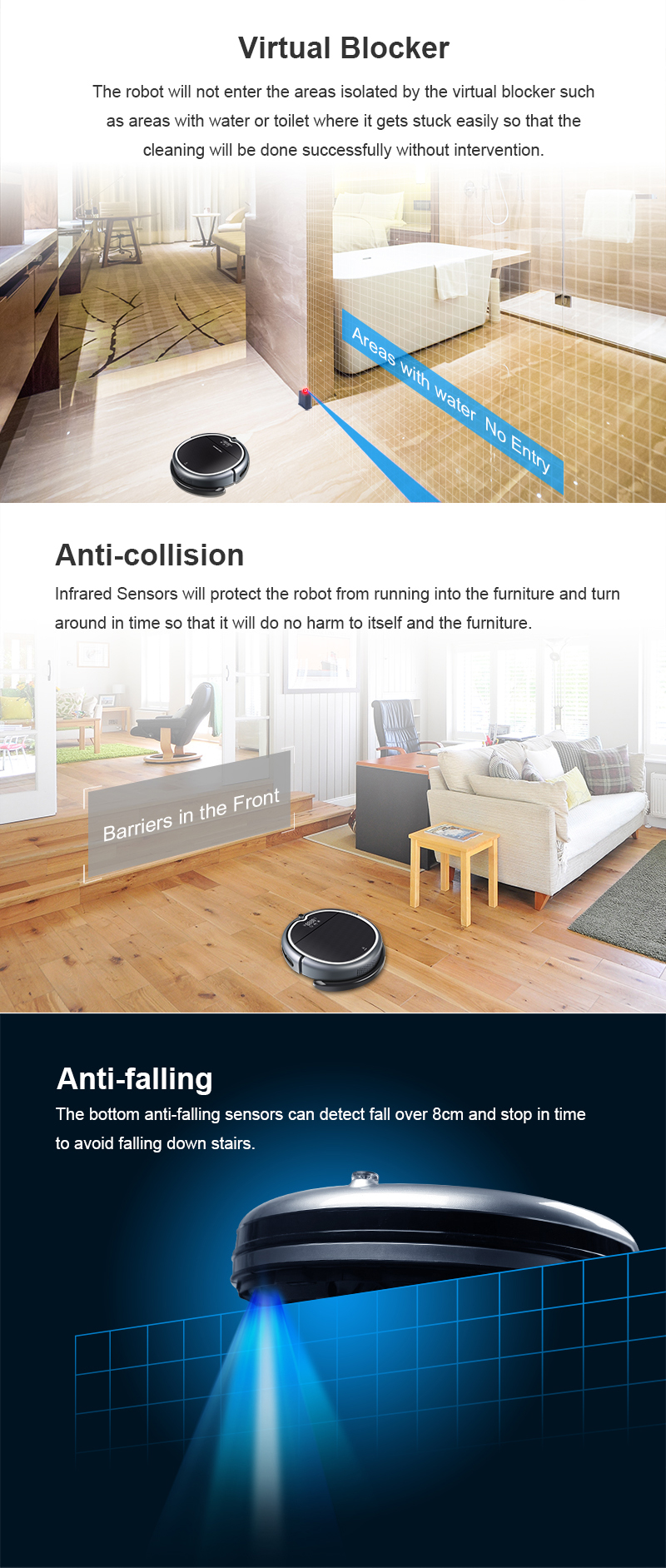 WIFI APP, 2D Map Navigation & Smart Memory Robot Aspirateur Q8000