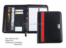 factory sale zippered leather portfolio and leather resume bound porfolio for office gifts