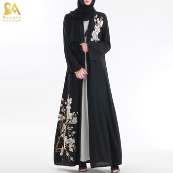 2019 New Maxi Modern Abaya Embroidery Islamic clothing Black Open Kimono