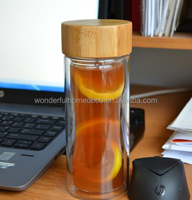 Glass Tea Infuser Travel Mug * BPA Free * Water Bottle with Fruit Infuser * Sexy Hourglass Design * Thermo * 300ml * Tea Infuser