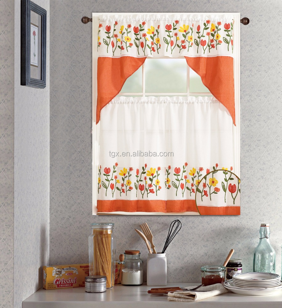 Best-selling Fashionable Floral Embroidery Kitchen Window Curtains