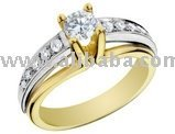 Diamond Engagement Ring: 14k Yellow And White Gold 3 / 5 Carat (Ctw) Round Brilliant Cut